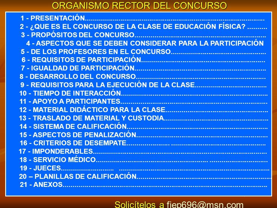 ORGANISMO RECTOR DEL CONCURSO