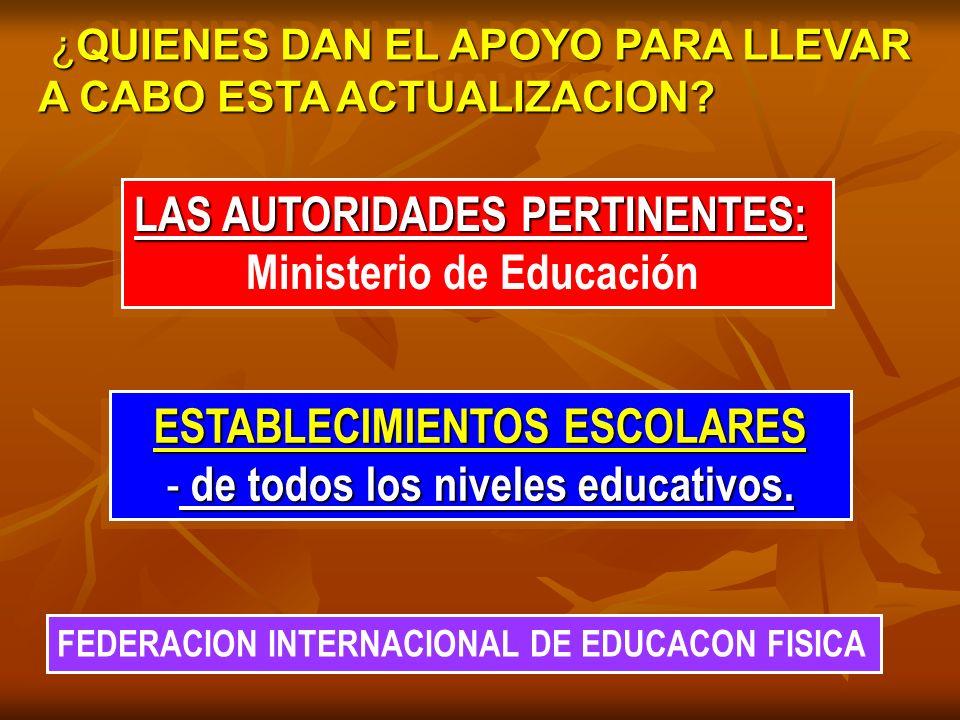 LAS AUTORIDADES PERTINENTES: Ministerio de Educación
