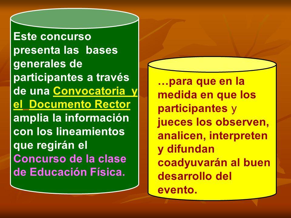 Este concurso presenta las bases generales de participantes a través de una Convocatoria y el Documento Rector amplia la información con los lineamientos que regirán el Concurso de la clase de Educación Física.