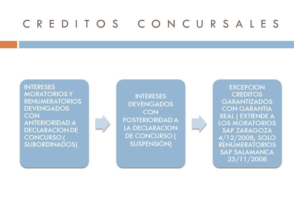 CREDITOS CONCURSALES INTERESES MORATORIOS Y RENUMERATORIOS DEVENGADOS CON ANTERIORIDAD A DECLARACION DE CONCURSO ( SUBORDINADOS)