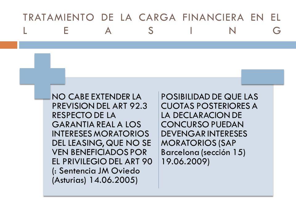 TRATAMIENTO DE LA CARGA FINANCIERA EN EL LEASING