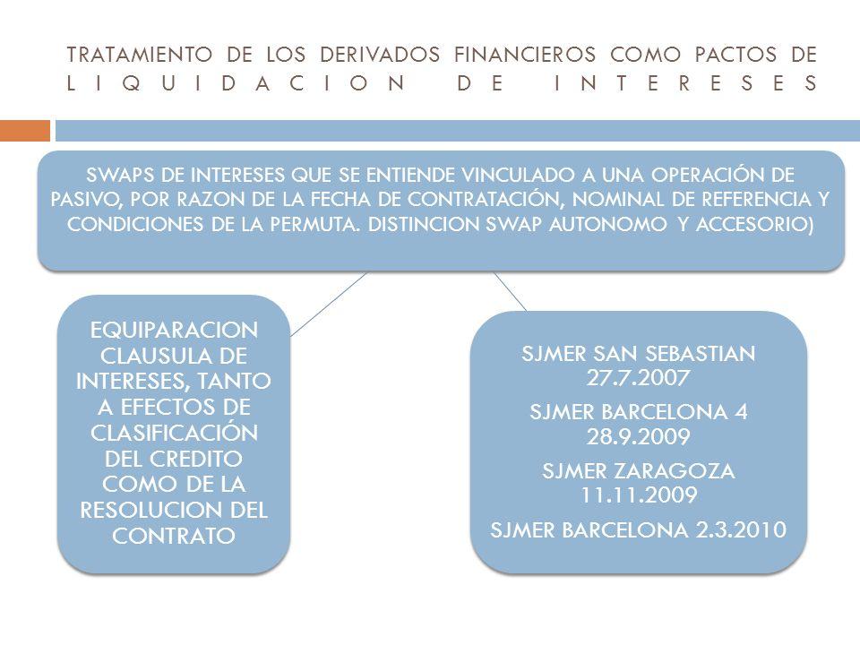 TRATAMIENTO DE LOS DERIVADOS FINANCIEROS COMO PACTOS DE LIQUIDACION DE INTERESES
