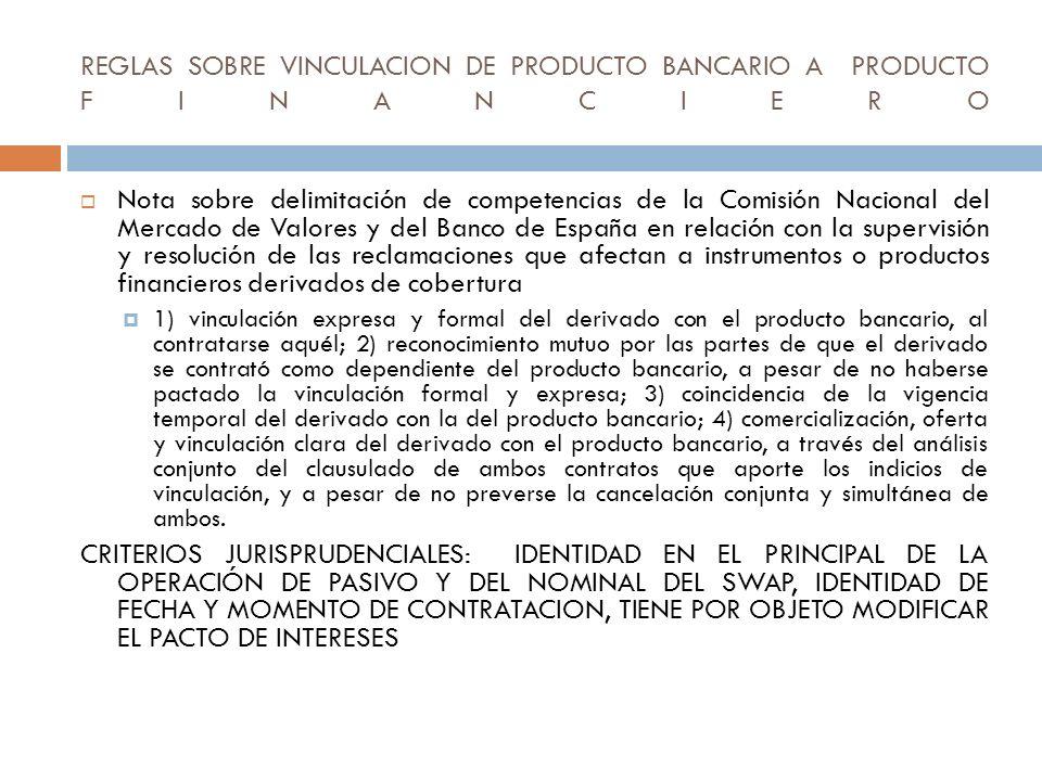 REGLAS SOBRE VINCULACION DE PRODUCTO BANCARIO A PRODUCTO FINANCIERO