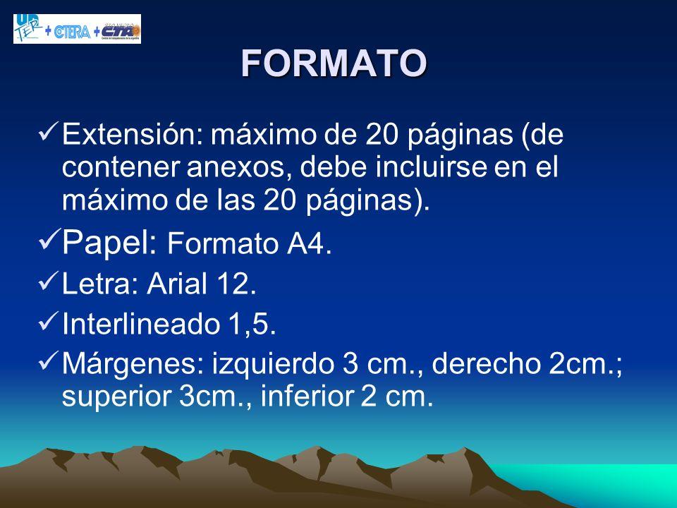 FORMATO Papel: Formato A4.