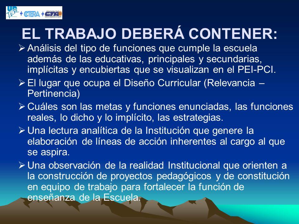 EL TRABAJO DEBERÁ CONTENER: