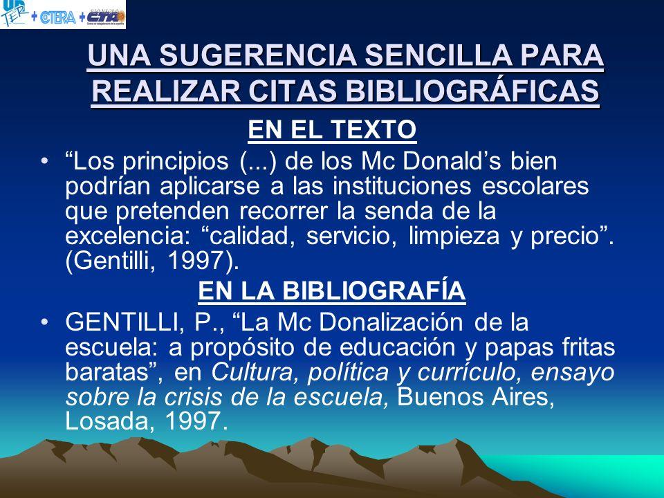 UNA SUGERENCIA SENCILLA PARA REALIZAR CITAS BIBLIOGRÁFICAS
