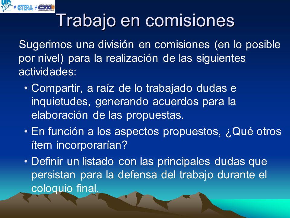 Trabajo en comisiones Sugerimos una división en comisiones (en lo posible por nivel) para la realización de las siguientes actividades: