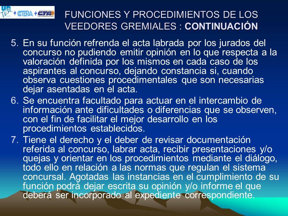 FUNCIONES Y PROCEDIMIENTOS DE LOS VEEDORES GREMIALES : CONTINUACIÓN