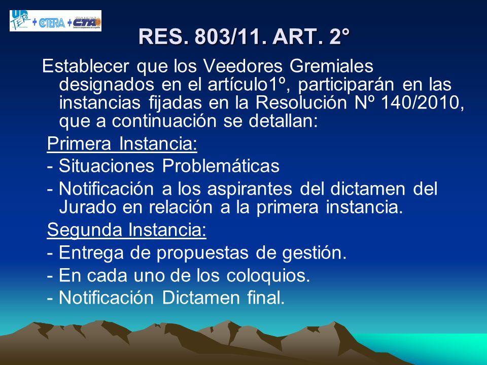 RES. 803/11. ART. 2°