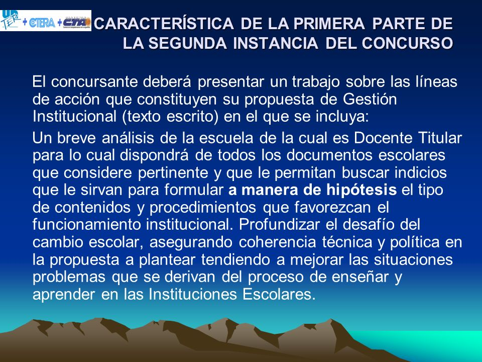 CARACTERÍSTICA DE LA PRIMERA PARTE DE LA SEGUNDA INSTANCIA DEL CONCURSO