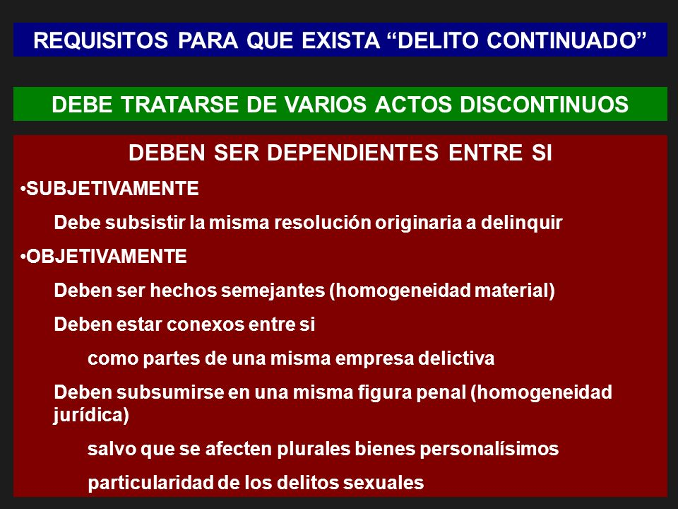 REQUISITOS PARA QUE EXISTA DELITO CONTINUADO