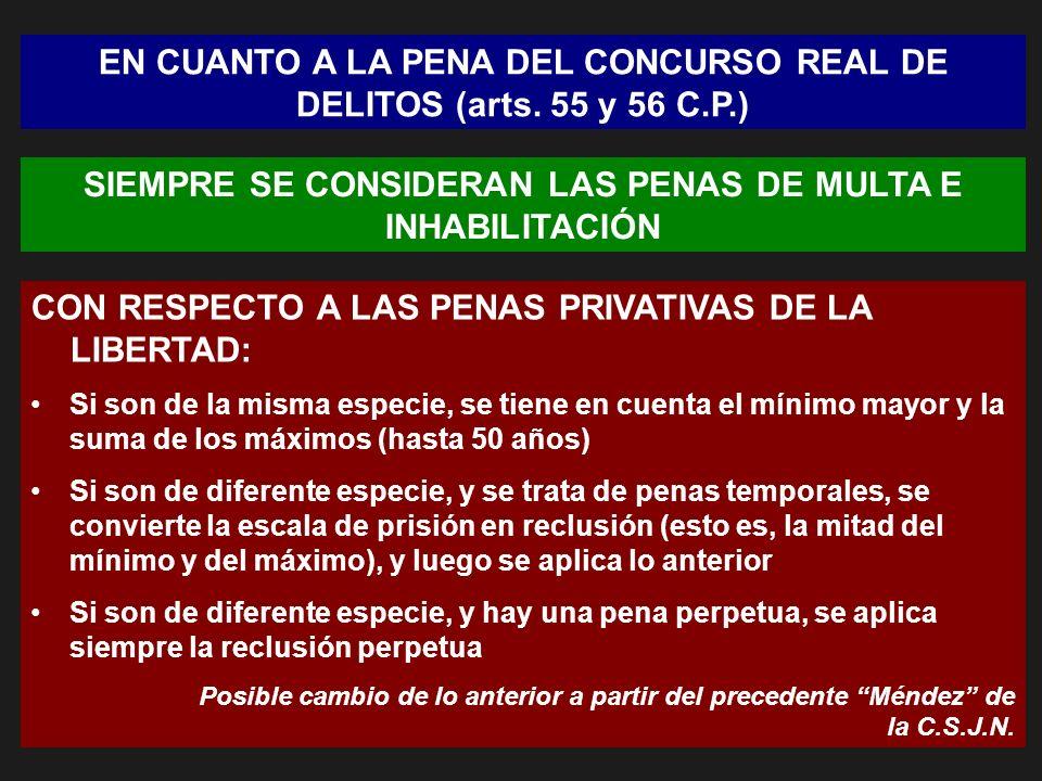 EN CUANTO A LA PENA DEL CONCURSO REAL DE DELITOS (arts. 55 y 56 C.P.)