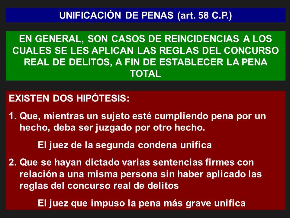 UNIFICACIÓN DE PENAS (art. 58 C.P.)
