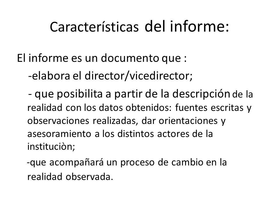 Características del informe: