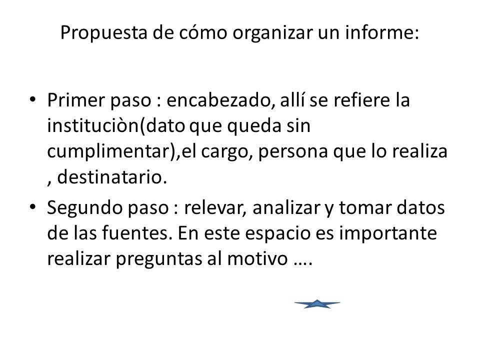Propuesta de cómo organizar un informe: