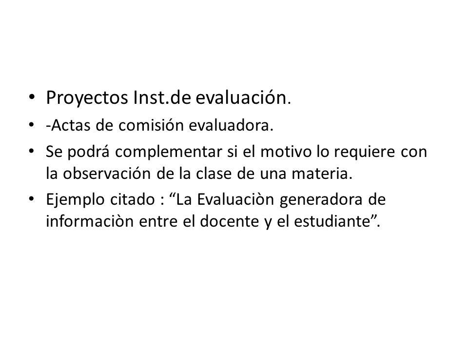 Proyectos Inst.de evaluación.