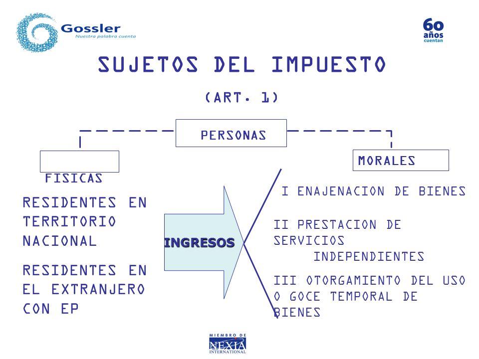 SUJETOS DEL IMPUESTO (ART. 1) RESIDENTES EN TERRITORIO NACIONAL