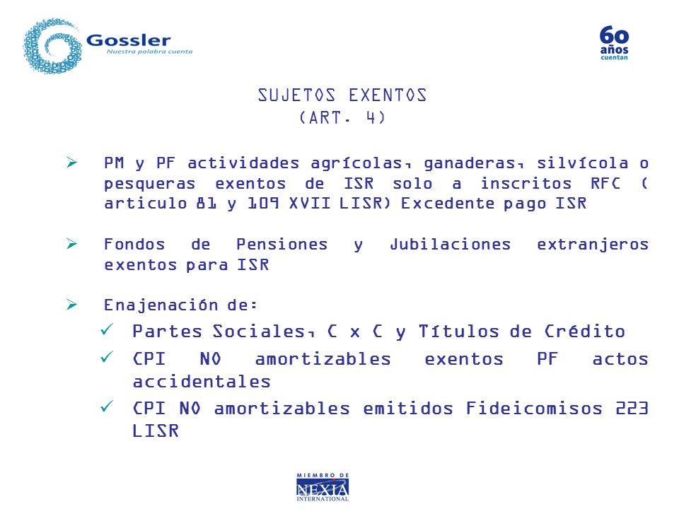 Partes Sociales, C x C y Títulos de Crédito