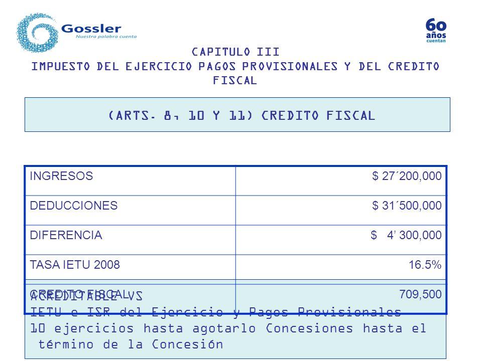 (ARTS. 8, 10 Y 11) CREDITO FISCAL