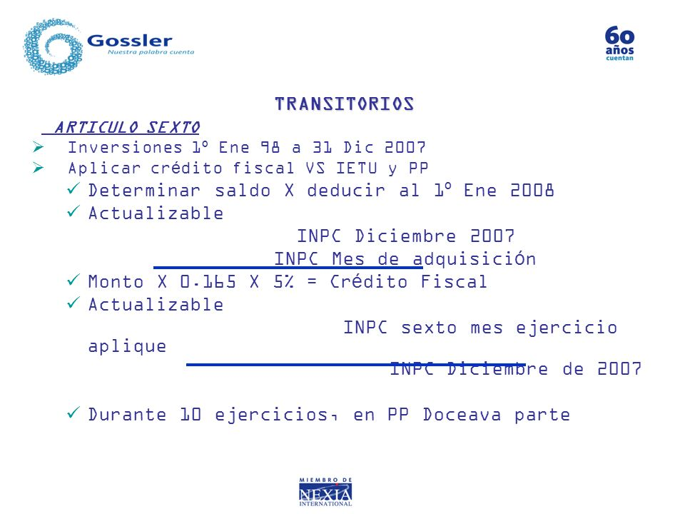 Determinar saldo X deducir al 1º Ene 2008 Actualizable