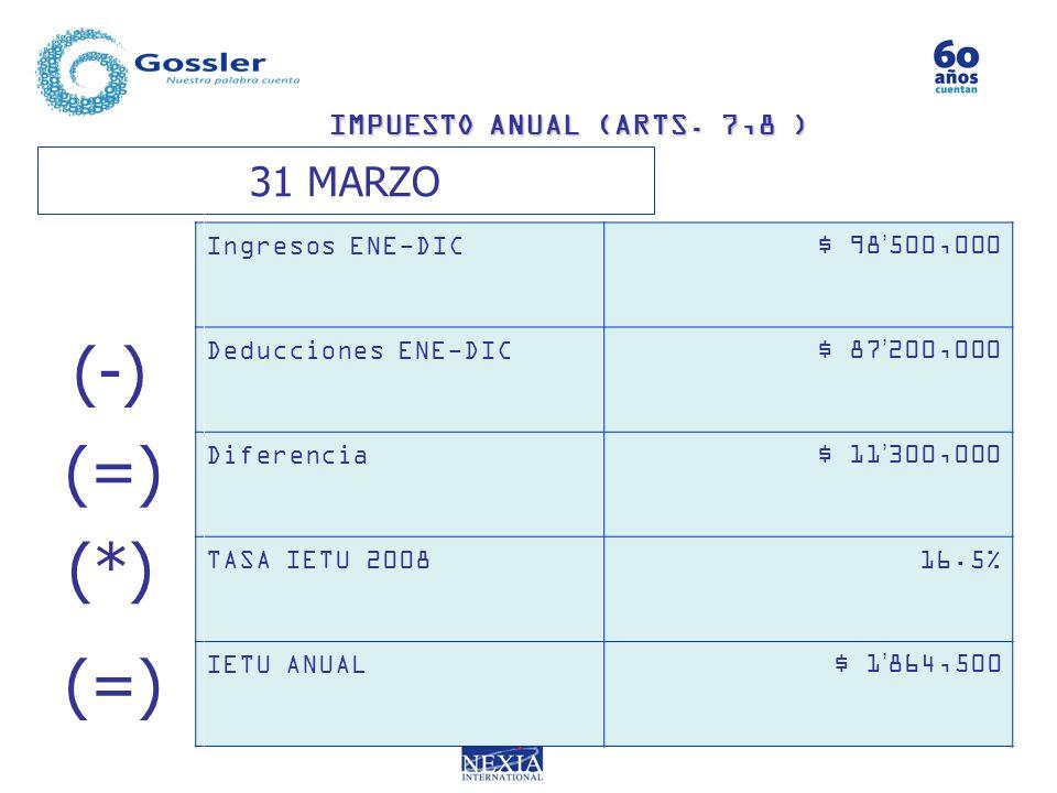 (-) (=) (*) (=) 31 MARZO IMPUESTO ANUAL (ARTS. 7,8 ) Ingresos ENE-DIC