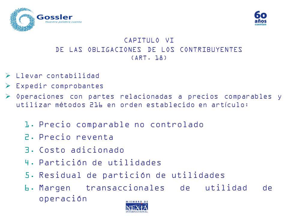 CAPITULO VI DE LAS OBLIGACIONES DE LOS CONTRIBUYENTES (ART. 18)