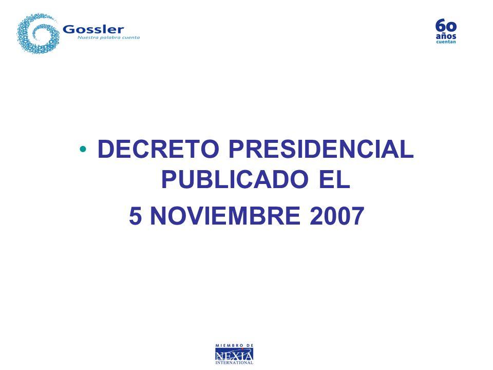 DECRETO PRESIDENCIAL PUBLICADO EL