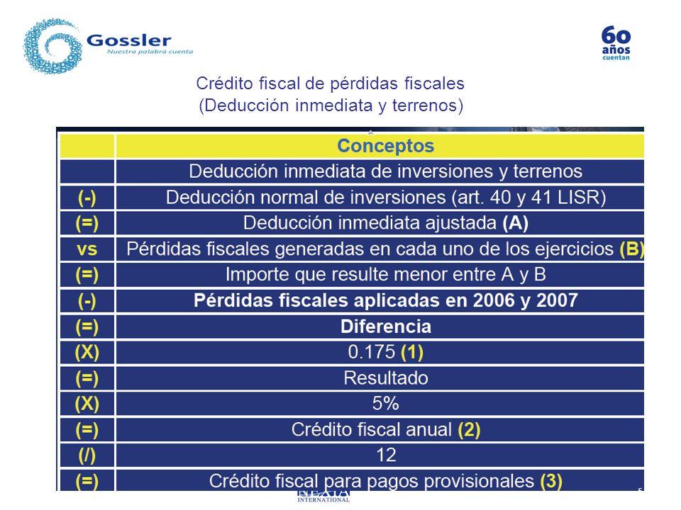 Crédito fiscal de pérdidas fiscales (Deducción inmediata y terrenos)