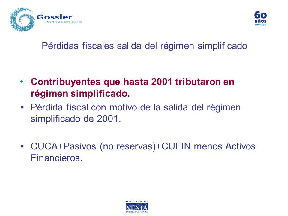 Pérdidas fiscales salida del régimen simplificado