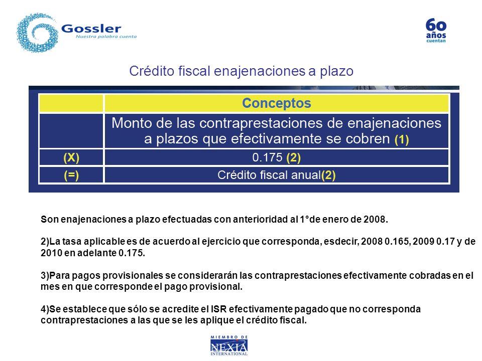 Crédito fiscal enajenaciones a plazo