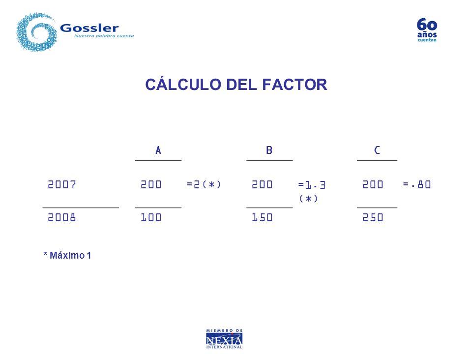 CÁLCULO DEL FACTOR A B C 2007 200 =2(*) =1.3 (*) =.80 2008 100 150 250