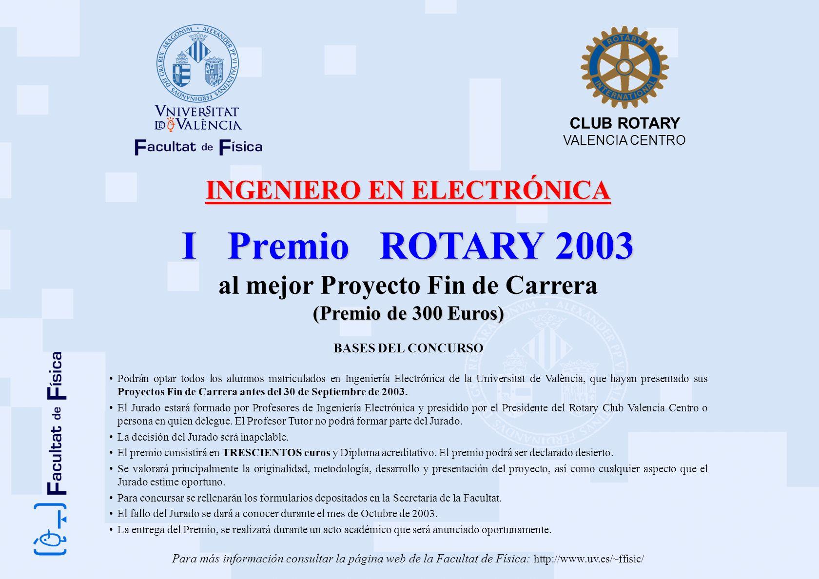 INGENIERO EN ELECTRÓNICA al mejor Proyecto Fin de Carrera