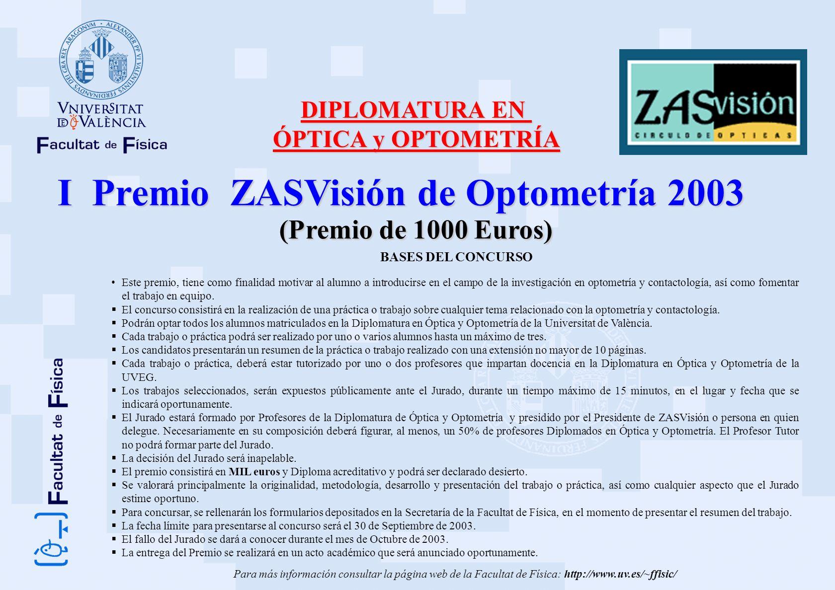 I Premio ZASVisión de Optometría 2003