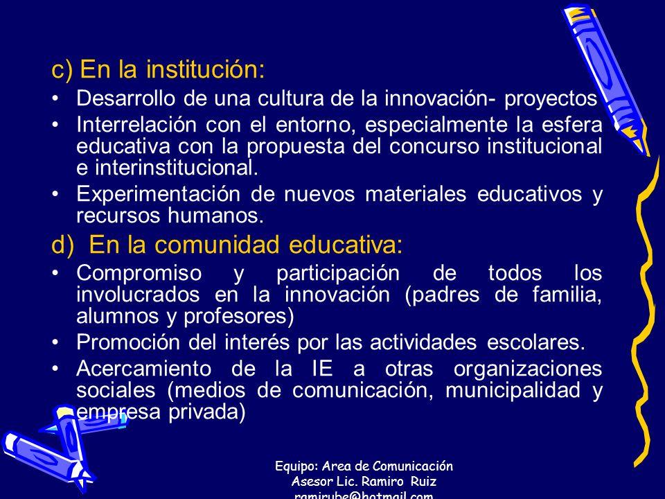 d) En la comunidad educativa: