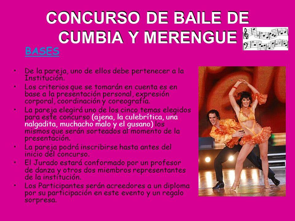 CONCURSO DE BAILE DE CUMBIA Y MERENGUE