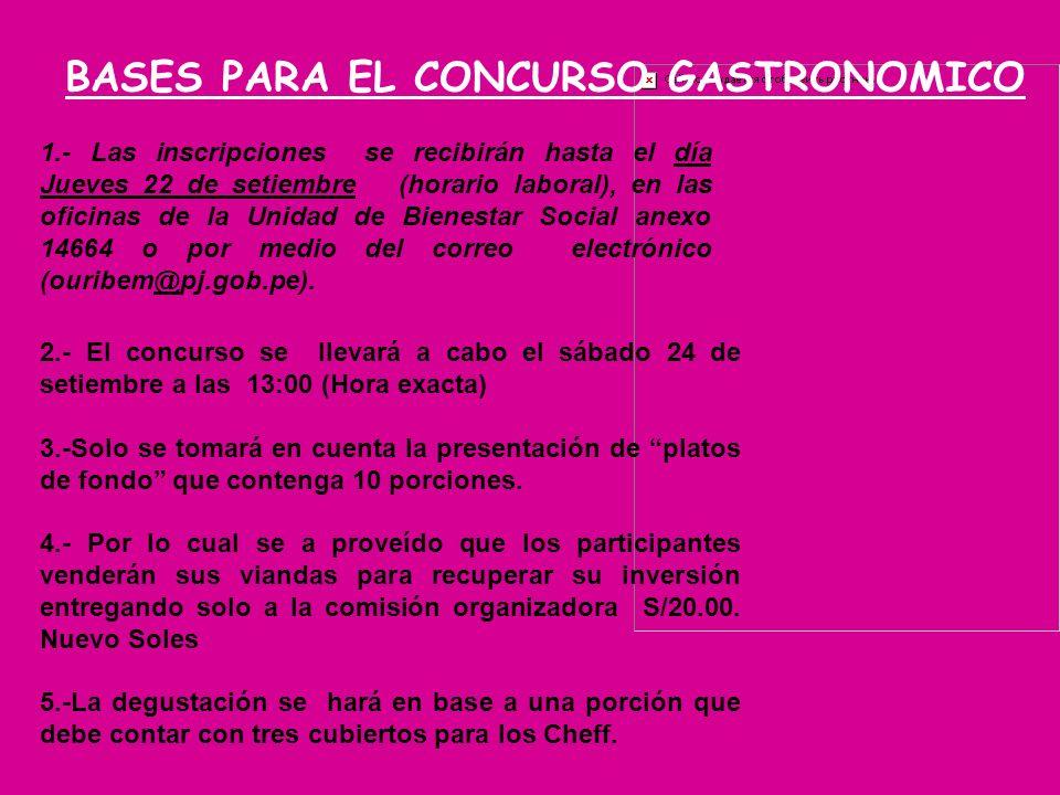 BASES PARA EL CONCURSO GASTRONOMICO