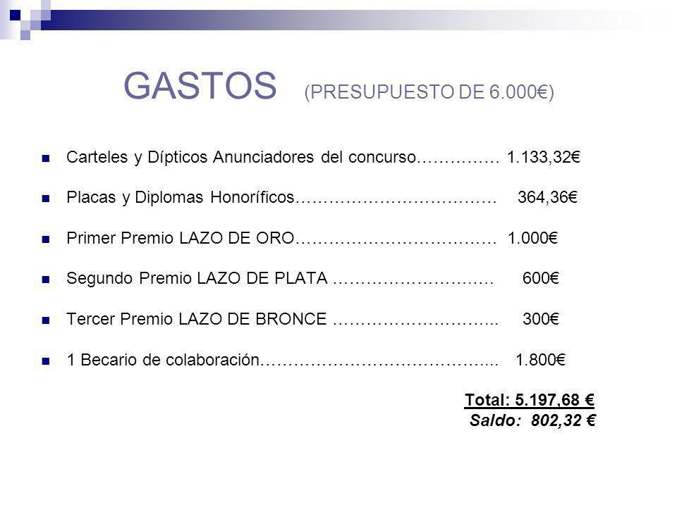 GASTOS (PRESUPUESTO DE 6.000€)