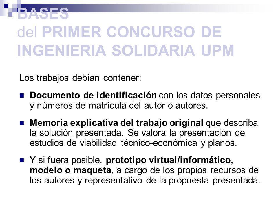 BASES del PRIMER CONCURSO DE INGENIERIA SOLIDARIA UPM