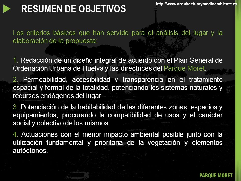 u RESUMEN DE OBJETIVOS http://www.arquitecturaymedioambiente.es.