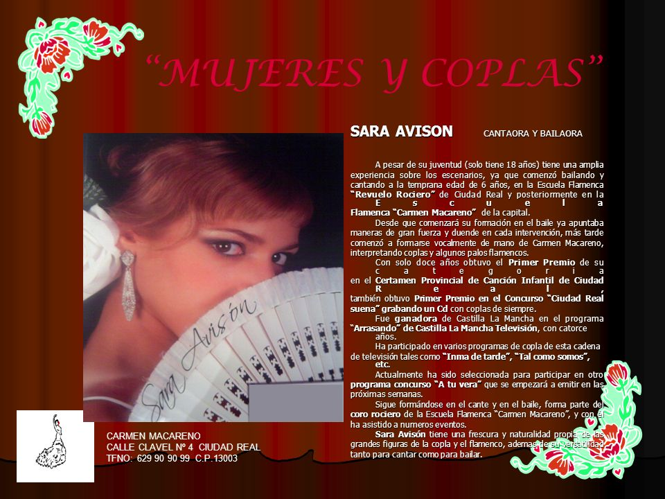 MUJERES Y COPLAS SARA AVISON CANTAORA Y BAILAORA CARMEN MACARENO