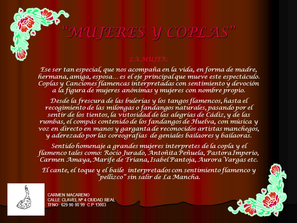 MUJERES Y COPLAS LA MUJER: