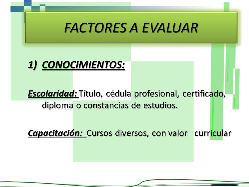 FACTORES A EVALUAR CONOCIMIENTOS: