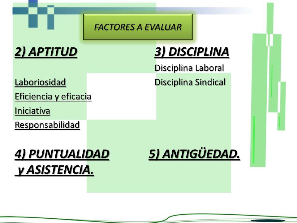 2) APTITUD 3) DISCIPLINA 4) PUNTUALIDAD 5) ANTIGÜEDAD. y ASISTENCIA.