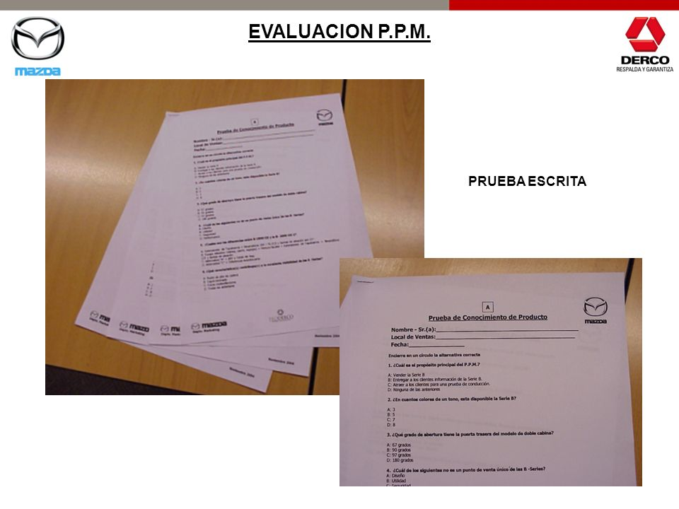 EVALUACION P.P.M. PRUEBA ESCRITA