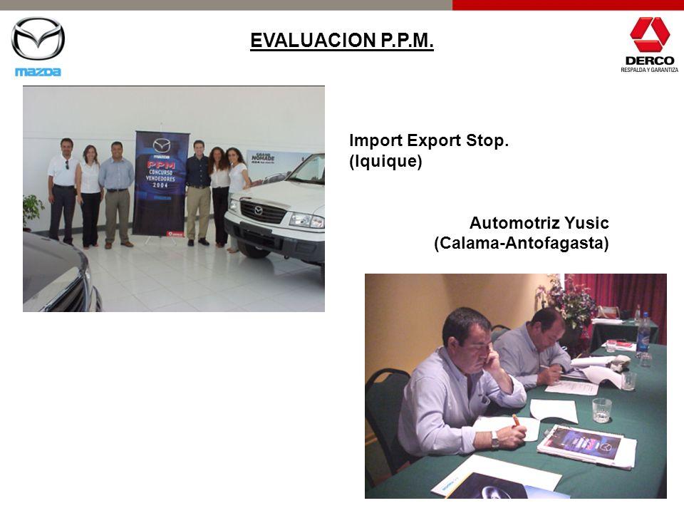 EVALUACION P.P.M. Import Export Stop. (Iquique) Automotriz Yusic