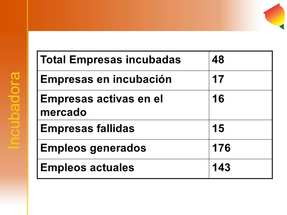 Incubadora Total Empresas incubadas 48 Empresas en incubación 17
