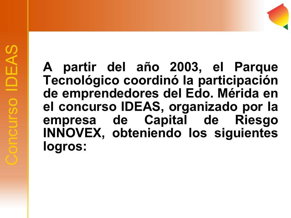 A partir del año 2003, el Parque Tecnológico coordinó la participación de emprendedores del Edo. Mérida en el concurso IDEAS, organizado por la empresa de Capital de Riesgo INNOVEX, obteniendo los siguientes logros: