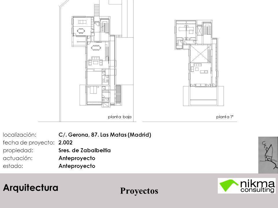 Proyectos localización: C/. Gerona, 87. Las Matas (Madrid)