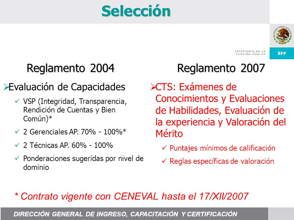 Selección Reglamento 2004 Reglamento 2007 Evaluación de Capacidades