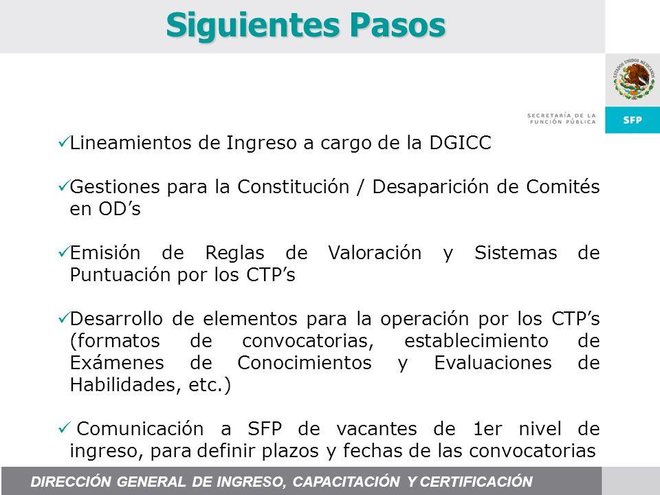 Siguientes Pasos Lineamientos de Ingreso a cargo de la DGICC